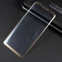 Celoplošné fixační tvrzené sklo na Samsung Galaxy S8 - zlatý lem