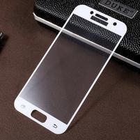 Croco celoplošné fixační sklo na displej telefonu Samsung Galaxy A3 (2017) - bílý lem