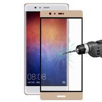 Celoplošné ochranné tvrzené sklo na  Huawei P9 Plus - zlatý lem