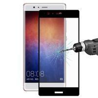 Celoplošné ochranné tvrzené sklo na  Huawei P9 Plus - černý lem