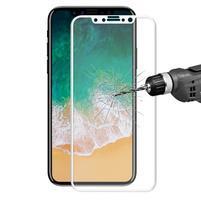 HAT celoplošné tvrzené sklo na mobil iPhone X - bílý rámeček