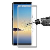 HAT celoplošné trvzené sklo na Samsung Galaxy Note 8 - stříbrný lem