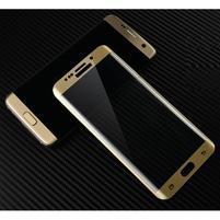 M3D fixační celoplošné tvrzené sklo na Samsung Galaxy S6 edge - zlatý lem