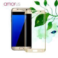 AMR celoplošné fixační tvrzené sklo na Samsung Galaxy S7 edge - zlatý lem