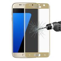 Full celoplošné tvrzené sklo na displej Samsung Galaxy S7 - zlatý lem