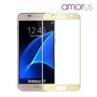 AMOR celoplošné tvrzené sklo na Samsung Galaxy S7 - zlatý lem