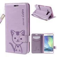 Kočička Domi PU kožené pouzdro na Samsung Galaxy A5 - fialové