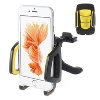 Univerzální autodržák do větráčku pro mobilní telefony - žlutý