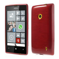 Gelové kartáčové pouzdro na Nokia Lumia 520- červené