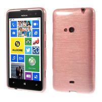 Gelové kartáčové pouzdro na Nokia Lumia 625 - světlerůžové