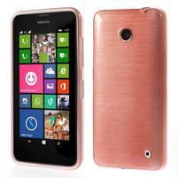 Gelové Kartáčové pouzdro na Nokia Lumia 630- světlerůžové