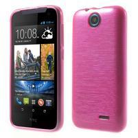 Gelové kartáčované pouzdro na HTC Desire 310- růžové