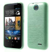 Gelové kartáčované pouzdro na HTC Desire 310- cyan