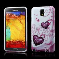 Gelové pouzdro na Samsung Galaxy Note 3- dvě srdce