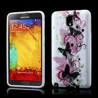 Gelové pouzdro na Samsung Galaxy Note 3- květinka motýl