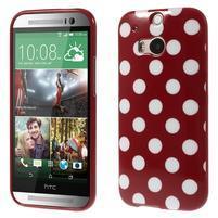 Gelové-PUNTÍKY pouzdro pro HTC one M8- červené