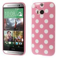 Gelové-PUNTÍKY pouzdro pro HTC one M8- růžové