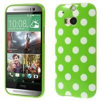 Gelové-PUNTÍKY pouzdro pro HTC one M8- zelené