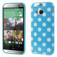 Gelové-PUNTÍKY pouzdro pro HTC one M8- modré