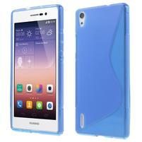 Gelové S-line pouzdro na Huawei Ascend P7- modré