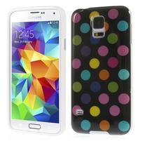 Gelové puntíkaté pouzdro na Samsung Galaxy S5- černobarevné