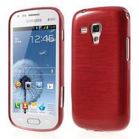 Kartáčované pouzdro na Samsung Galaxy Trend, Duos- červené