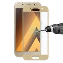 Celoplošné fixační tvrzené sklo na Samsung Galaxy A3 (2017) - zlatý lem