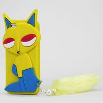 Gelové 3D pouzdro na iPhone 5, 5s- kočka žlutá