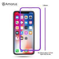 AMS celoplošné tvrzené sklo se silikonovým okrajem na mobil Apple iPhone 11 6.1 (2019) - fialové