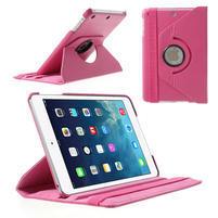 PU kožené 360 °  pouzdro pro iPad mini- růžové