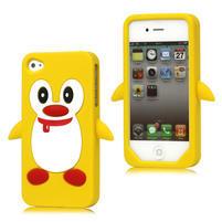Silikonový Tučňák na iPhone 4 4S - žlutý
