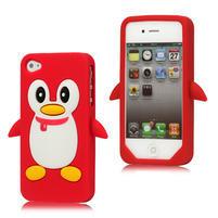 Silikonový Tučňák na iPhone 4 4S - červený