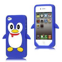 Silikonový Tučňák na iPhone 4 4S - modrý