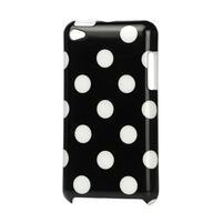 Plastové pouzdro na iPod Touch 4 - černé puntíkaté