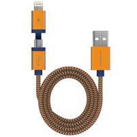 Elite 2v1 nabíjecí a propojovací kapel lightning 8 pin + micro USB - zlatý