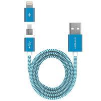 Elite 2v1 nabíjecí a propojovací kapel lightning 8 pin + micro USB - modrý