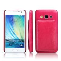 PU kožený/plastový kryt se stojánkem na Samsung Galaxy A3 - rose