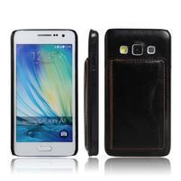 PU kožený/plastový kryt se stojánkem na Samsung Galaxy A3 - černý
