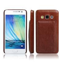 PU kožený/plastový kryt se stojánkem na Samsung Galaxy A3 - hnědý