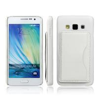 PU kožený/plastový kryt se stojánkem na Samsung Galaxy A3 - bílý