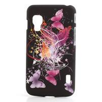 Plastové pouzdro pro LG Optimus L5 Dual E455- Motýl a květ