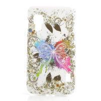 Plastové pouzdro pro LG Optimus L5 Dual E455- motýl bílé pozadí