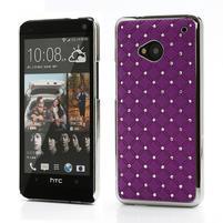 Drahokamové pouzdro pro HTC one M7- fialové