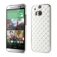 Drahokamové pouzdro pro HTC one M8- bílé