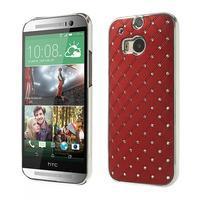 Drahokamové pouzdro pro HTC one M8- červené