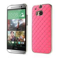 Drahokamové pouzdro pro HTC one M8- světlerůžové
