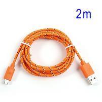 Tkaný odolný micro USB kabel s délkou 2m - oranžový