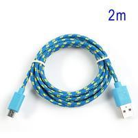 Tkaný odolný micro USB kabel s délkou 2m - modrý