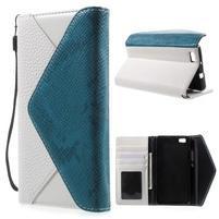 Luxusní peněženkové pouzdro na Huawei P8 Lite - bílé / modrozelené