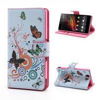 Peněženkové pouzdro na Sony Xperia Z C6603 - barevní motýlci